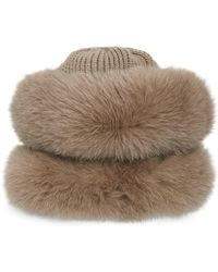 Glamourpuss - Fox Fur Trimmed Wool Hat - Lyst