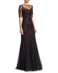 Teri Jon - Short-sleeve Lace Appliqué A-line Gown - Lyst