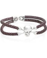 Stinghd   Skull Accented Stingray Silver Bracelet   Lyst