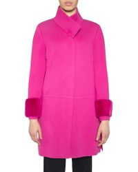 Stizzoli - Mink Fur Trim Wool-blend Coat - Lyst