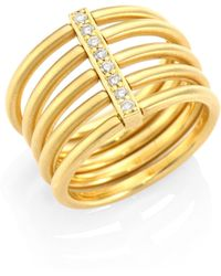 Carelle - Moderne Penta Diamond & 18k Yellow Gold Ring - Lyst