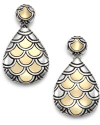 John Hardy - Naga 18k Yellow Gold & Sterling Silver Teardrop Earrings - Lyst
