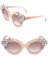 Alice + Olivia - Olivia Nude Crystal Sunglasses - Lyst
