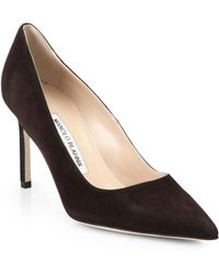 Manolo Blahnik - Bb 90 Suede Point Toe Court Shoes - Lyst