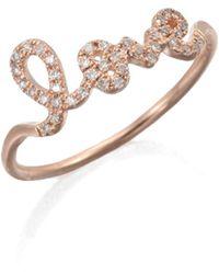 Sydney Evan - Diamond & 14k Rose Gold Love Ring - Lyst