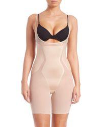 1008913e447 Spanx - Women s Haute Contour Open-bust Mid-thigh Shape Suit - Soft Sand