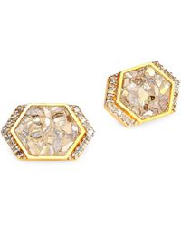 Shana Gulati - Neora 18k Gold, Diamond & Vermeil Stud Earrings - Lyst