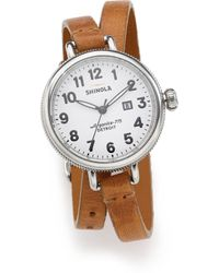 Shinola - Birdy Rose Stainless Steel & Leather Double-wrap Watch - Lyst