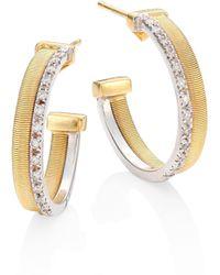 Marco Bicego - Masai Two-row Diamond, 18k Yellow & White Gold Hoop Earrings/0.8 - Lyst