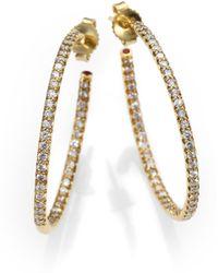 Roberto Coin - Diamond & 18k Yellow Gold Hoop Earrings/1.2 - Lyst