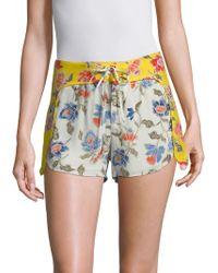 Joie - Deodata Floral Silk Shorts - Lyst