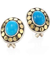 John Hardy - Dot Turquoise & 18k Yellow Gold Stud Earrings - Lyst