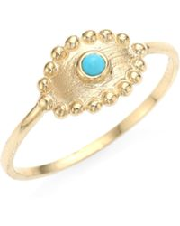 Anzie - Dew Drop Turquoise Evil Eye & 14k Yellow Gold Ring - Lyst