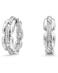 David Yurman - Diamonds & Sterling Silver Pave Chain Hoop Earrings - Lyst
