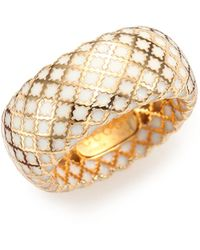 Gucci - Diamantissima Enamel & 18k Yellow Gold Band Ring - Lyst