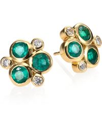 Temple St. Clair - Classic Color Emerald, Diamond & 18k Yellow Gold Trio Earrings - Lyst