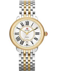 Michele Watches - Serein 16 Diamond, Mother-of-pearl, 18k Goldplated & Stainless Steel Bracelet Watch - Lyst