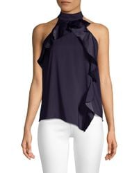 Parker - Blake High-neck Draped Combo Ruffle Halter Top - Lyst