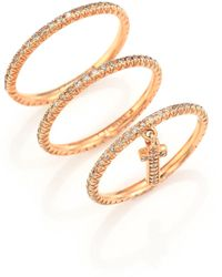 LJ Cross - Champagne Diamond & 14k Rose Gold Cross Charm Ring Set - Lyst