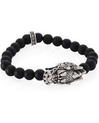 King Baby Studio - Sterling Silver Dragon's Head Lava Rock Bead Stretch Bracelet - Lyst