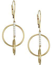 Phillips House - 14k Yellow Gold & Diamond Bar Single Loop Earrings - Lyst