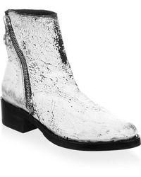 Frye - Crackle Paint Patent Leather Booties - Lyst