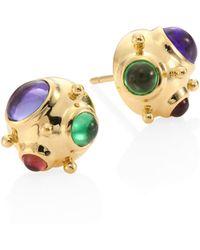 Temple St. Clair - Small Cosmos Semi-precious Multi-stone & 18k Yellow Gold Stud Earrings - Lyst