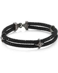 Stinghd - Blackened Silver & Stingray Star Wrap Bracelet - Lyst