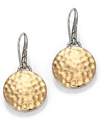 John Hardy - Palu 18k Yellow Gold & Sterling Silver Hammered Disc Drop Earrings - Lyst
