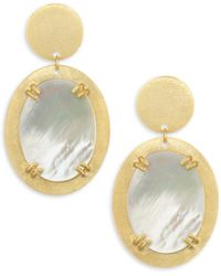 Stephanie Kantis - Mother-of-pearl & Brushed 18k Gold Double Plated Drop Earrings - Lyst