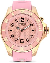 Kyboe - Power Rose Goldtone Stainless Steel & Pink Silicone Strap Watch/48mm - Lyst