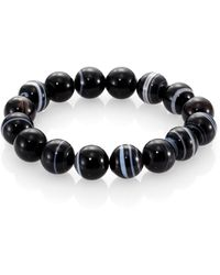 Nest - Black Line Agate Beaded Stretch Bracelet - Lyst
