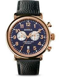 Shinola - Runwell Chronograph Pvd Rosegold Leather Strap Watch - Lyst