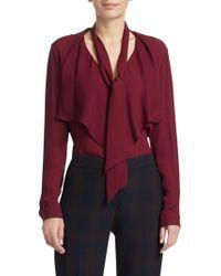 fe2d9a837b5de9 Elie Tahari - Women s Jurnee Ruffle Front Silk Blouse - Winter Berry - Lyst
