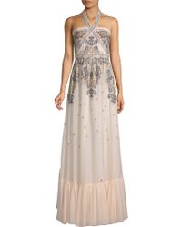 BCBGMAXAZRIA - Embroidered Halter Gown - Lyst