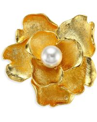 Kenneth Jay Lane - Faux-pearl Flower Brooch - Lyst
