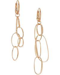Pomellato - Gold 18k Rose Gold Asymmetric Hoop Drop Earrings - Lyst