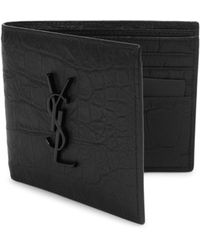 c08dfb79fb7 Saint Laurent Ysl Monogram Croc-embossed Leather Bi-fold Wallet in ...