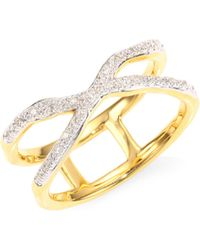 Monica Vinader - Riva Pave Wave Cross Ring/goldtone - Lyst