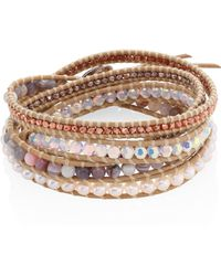 Chan Luu - Grey Banded Agate, Hematine, Crystal & Leather Beaded Wrap Bracelet - Lyst