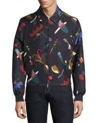 Ferragamo - Runway Abstract-print Silk & Cotton Blouson Jacket - Lyst