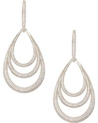 Adriana Orsini - Pavé 18k Gold-plated Lobe Drop Earrings - Lyst