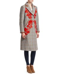 Tanya Taylor - Embroidered Plaid Trench Coat - Lyst