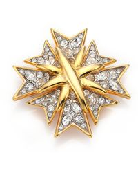 Kenneth Jay Lane - Multi Cross Crystal & 22k Golplated Pin - Lyst