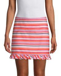 Trina Turk - Straight-fit Striped Ruffle Mini Skirt - Lyst