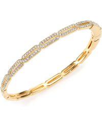 Adriana Orsini - Pavé Crystal Long Hexagon Bangle Bracelet/goldtone - Lyst