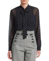Dior - Star Print Tie-neck Silk Blouse - Lyst