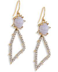 Alexis Bittar | Elements Blue Lace Agate & Crystal Geometric Drop Earrings | Lyst