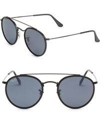 af62a990b6653 Ray-Ban - Men s Rb3647n51 Aviator Round Metal Sunglasses - Black - Lyst