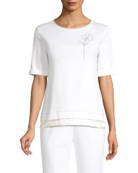 Peserico - Embellished Flower Stretch Cotton Tee - Lyst